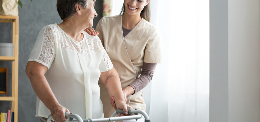 A senior recovering from a hip replacement in short-term rehab.