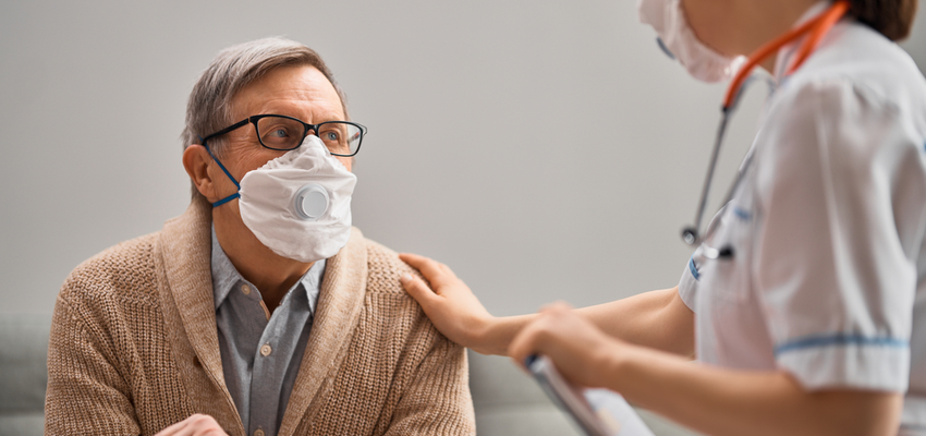 A man discusses COPD in a Pasadena skilled nursing facility.