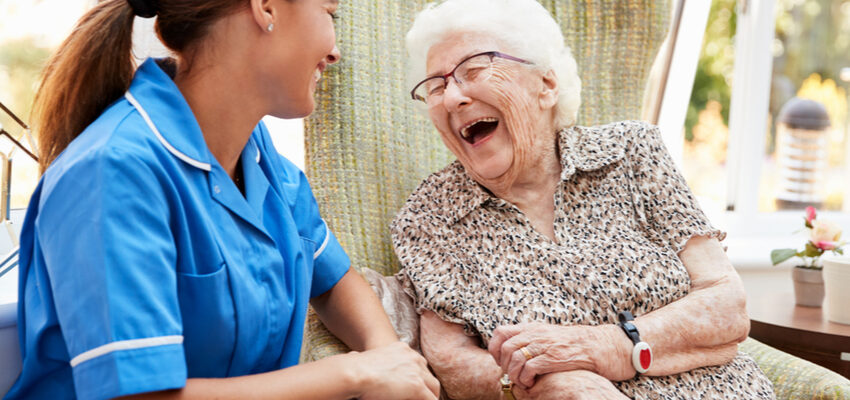 A senior and an occupational therapist at a Pasadena Nursing Center